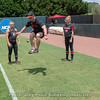 S&C coach Ryan Gearheart gets air playing hacky sack during warm-ups