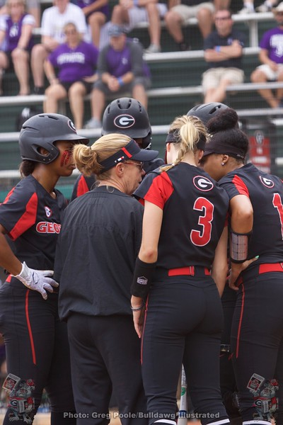 Lu Harris-Champer meets with her batters