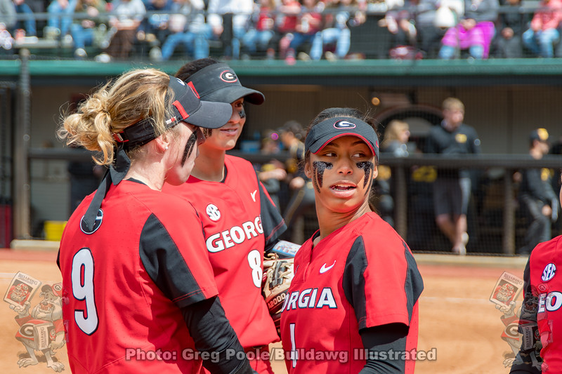 Alysen Febrey (9), Alyssa DiCarlo (8) and Ciara Bryan (4) – Georgia vs. Missouri – April 8, 2018