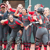 Justice Milz is greeted at home plate after home run – Georgia vs. Arkansas – March 10, 2018