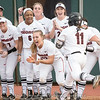 Mahlena O'Neal is greeted at home plate after home runs – Georgia vs. Florida – March 16, 2018