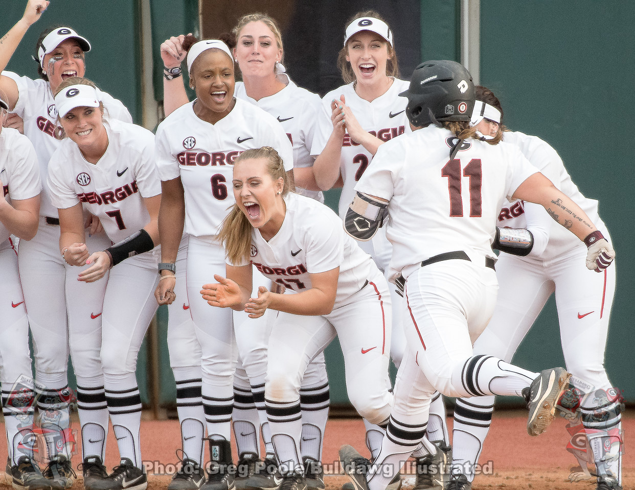 Mahlena O'Neal is greeted at home plate– Georgia vs. Florida – March 17, 2018