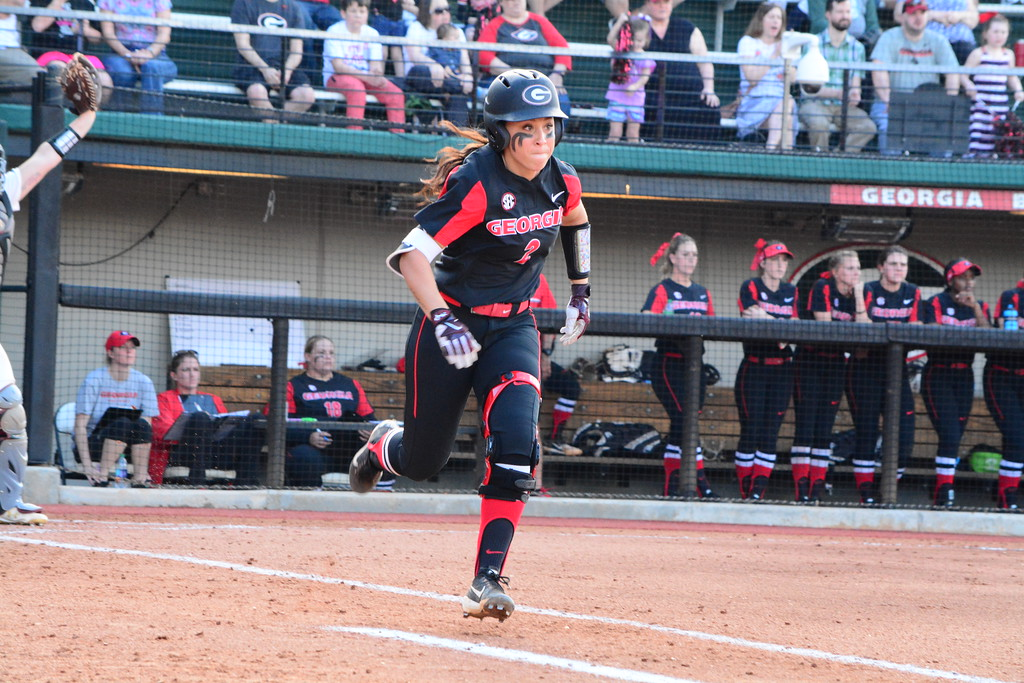 Georgia during the Bulldogs' game against College of Charleston at Jack Turner Softball Stadium in Athens, Ga. on Saturday, Feb. 24, 2018. (Photo by Caitlyn Tam)