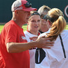 Kylie Bass and her family with Lu Harris-Champer during pregame Senior Day Ceremonies