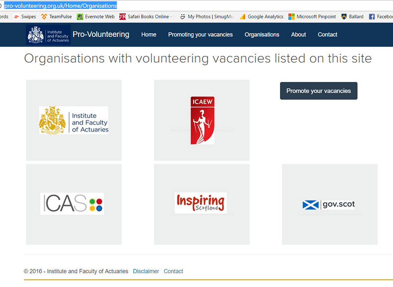 I developed the IFoA's Pro-Volunteering website, which helps put professionals and organisations find rewarding volunteer positions