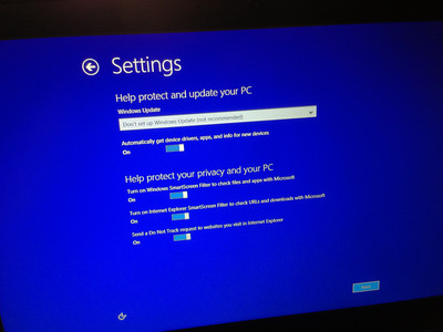 Setting up Windows 8 for the first time.