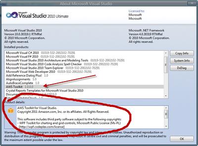 Verifying AWS Toolkit & SDK are installed.