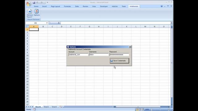 Using the Webtrends Excel 2007 Ribbon to retrieve a report.