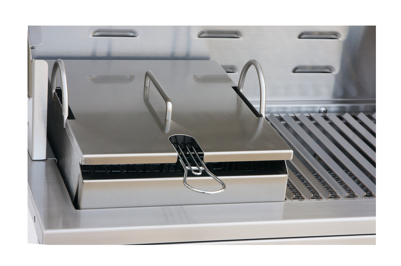 Solaire Steamer-Fryer accessory shown in grill