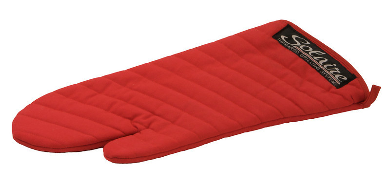 Item# SOL-MITT-R1  Red Solaire labeled full length grilling mitt.