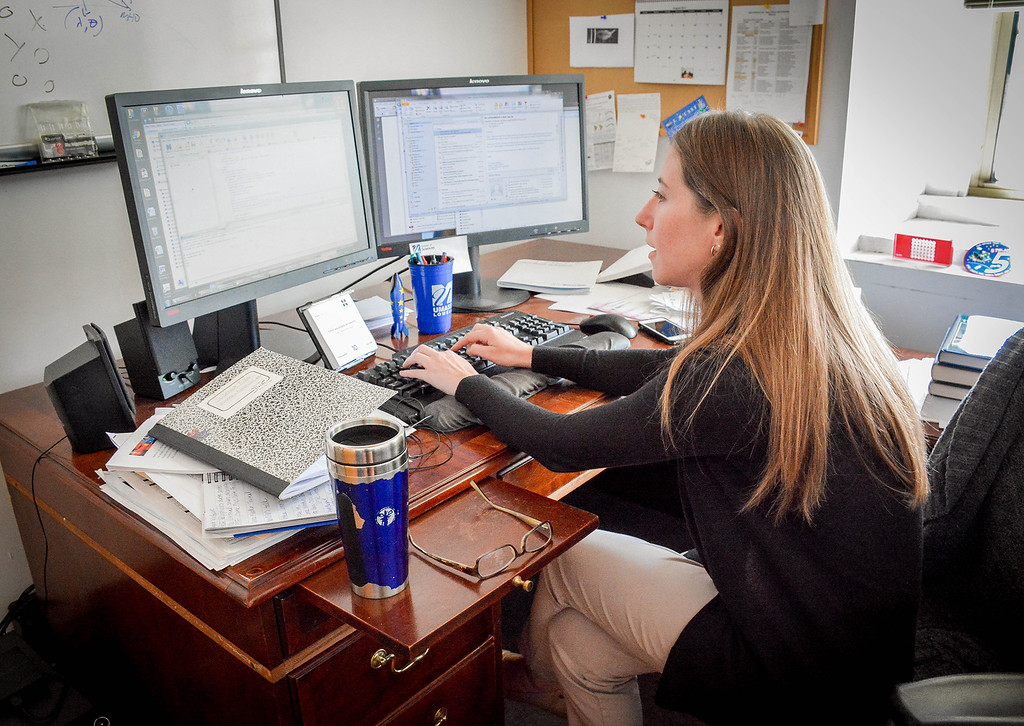 . Research Scientist, Susanna Finn of Sommerville does most of her research and data analyzation from her office in Lowell. SUN/Caley McGuane