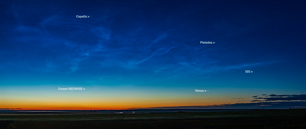 Comet NEOWISE with Noctilucent Clouds and ISS (with Labels) (July 5, 2020)