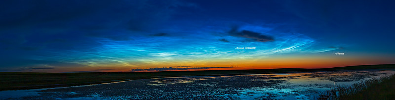 Noctilucent Clouds in Dawn Sky Panorama (with Labels) (July 7, 2020)