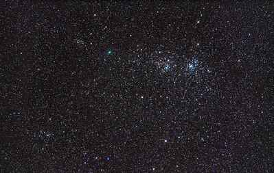 Comet PanSTARRS C/2017 T2 Near Double Cluster (Jan 22, 2020)