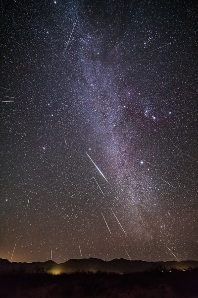Geminid Meteor Shower in the Winter Milky Way