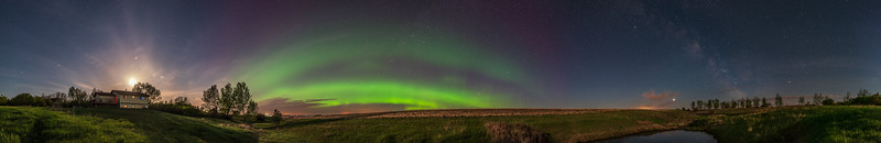 Aurora at Home Panorama with Milky Way (May 29, 2020)