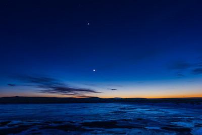 Moon and Venus over Icy Pond