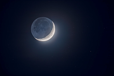 Earthshine on the Waxing Moon with Stars