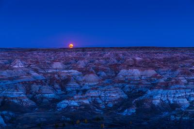 Harvest Moonrise over the Badlands