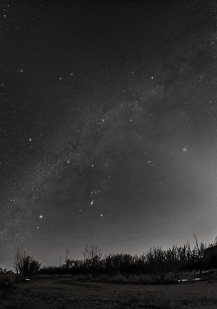 Panorama of the Winter Sky in March-B&W Naked Eye View
