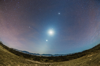 Autumn Morning Zodiacal Light with Moon