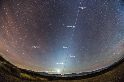 Zodiacal Light at Dawn with Planet Lineup (with Labels)
