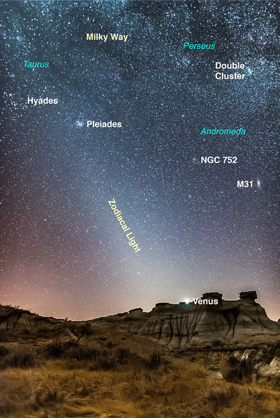 Evening Zodiacal Light at Dinosaur Park (with Labels)