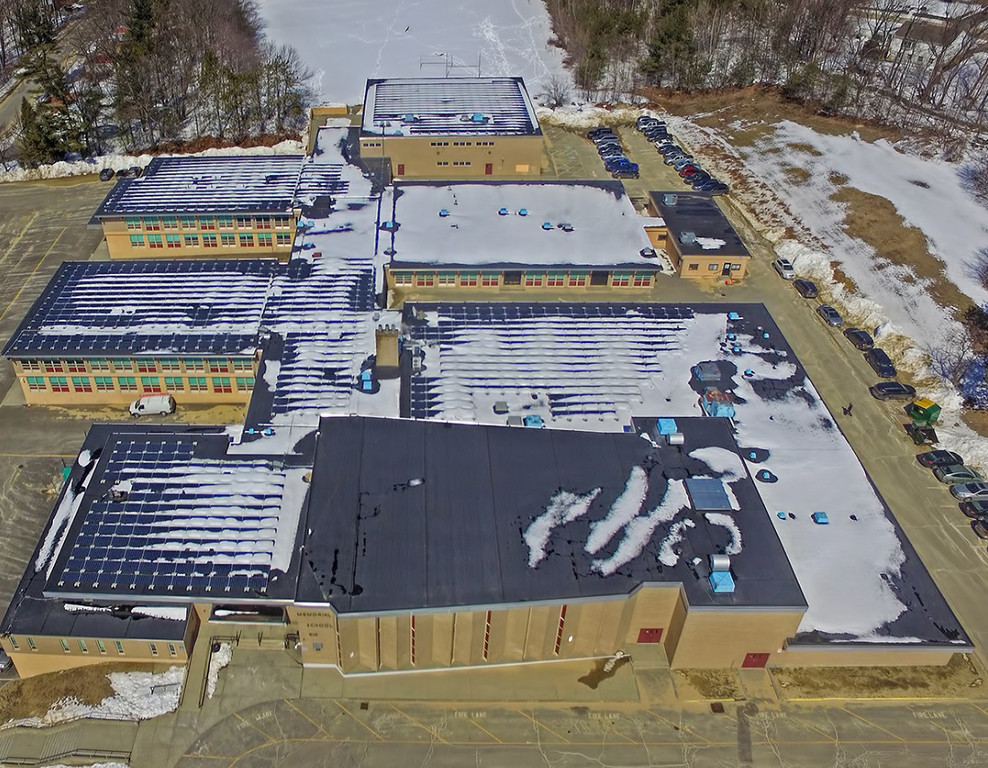 . Aerial drone image of new solar panels on the roof of Memorial Middle School in Fitchburg. Courtesy Photo