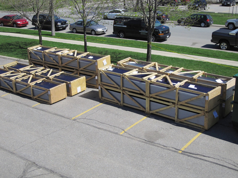 Modules in their custom-made shipping crates.