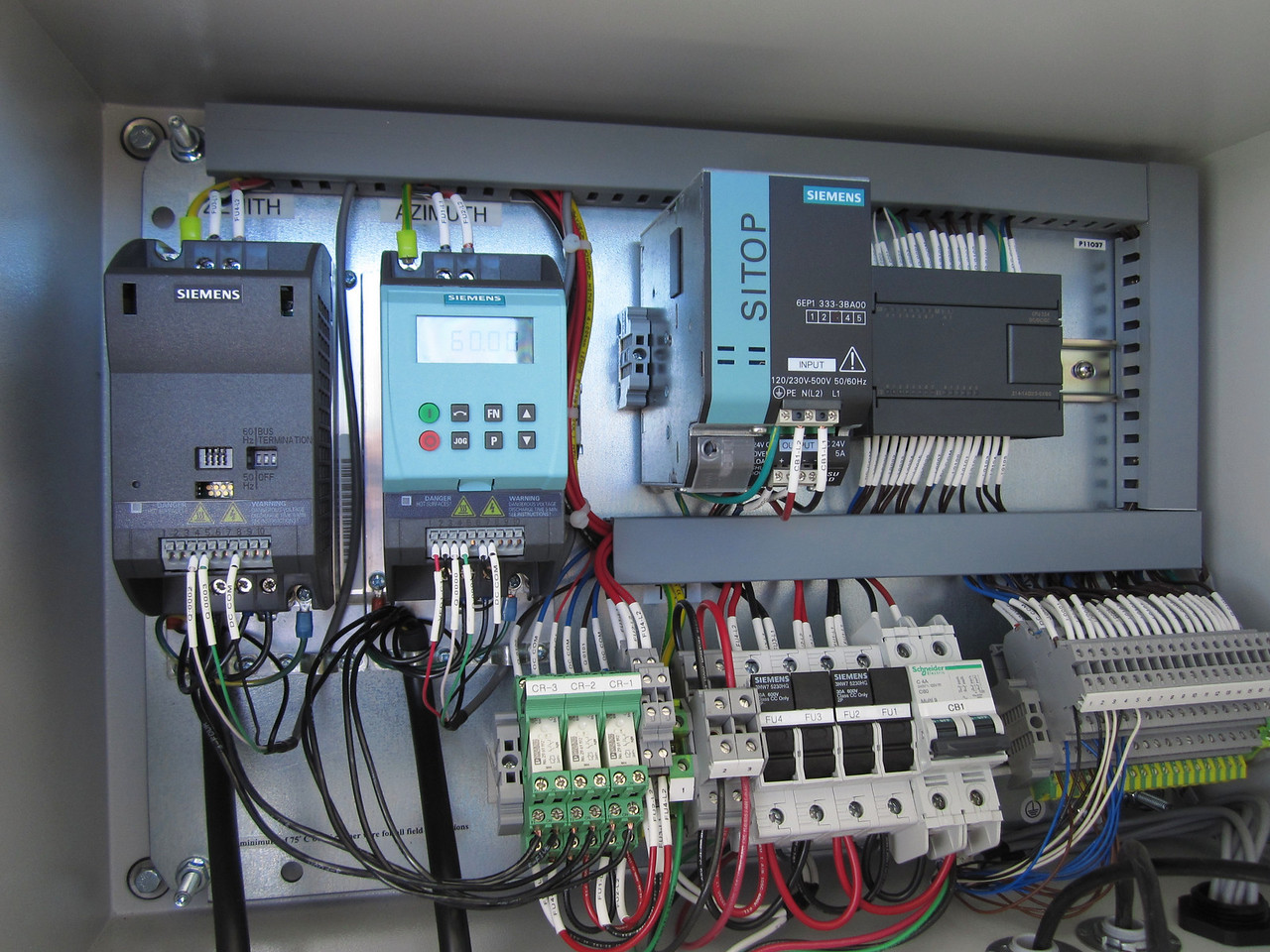 The tracker drive computers (one for Zenith and one for Azimuth) along with fuses and switches,