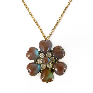 Antique Edwardian Saphiret Glass Heart Floral Panel Pendant Necklace