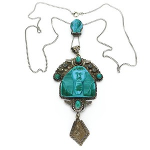 VINTAGE ART DECO SILVER BLUE GLASS PHARAOH TURQUOISE BLUE SLIDER PENDANT NECKLACE