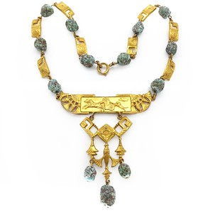 ANTIQUE VICTORIAN FRENCH EGYPTIAN REVIVAL GOLD METAL TURQUOISE GLASS NECKLACE