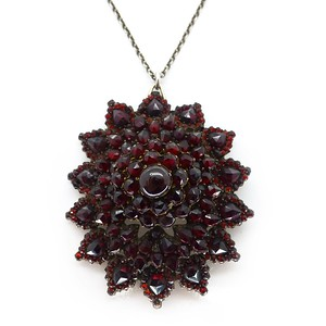 ANTIQUE VICTORIAN GARNET STARBURST PENDANT CONVERSION BROOCH