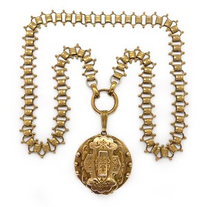 ANTIQUE VICTORIAN GOLD FILLED LOCKET BOOK CHAIN NECKLACE