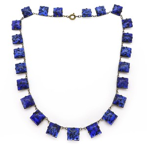 VINTAGE ART DECO CZECH BLUE LAPIS GLASS SQUARE PANEL NECKLACE