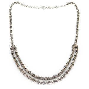 VINTAGE ART DECO MACHINE AGED RHINESTONE PANEL DOUBLE ROW NECKLACE