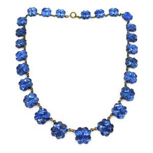 VINTAGE ART DECO CZECH MIDNIGHT BLUE VAUXHALL MIRROR GLASS CLOVER PANEL NECKLACE