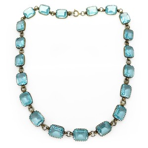 ANTIQUE EDWARDIAN BLUE AQUAMARINE GLASS PRONG SET PANEL NECKLACE