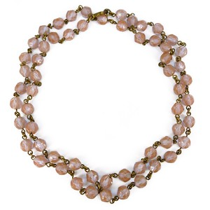 Antique Edwardian Czech Saphiret Glass Faceted Bead Necklace