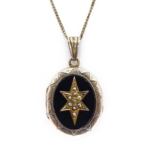 ANTIQUE VICTORIAN SILVER ONYX & PEARL ENGRAVED STAR MOURNING PENDANT