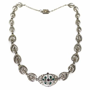 Antique Edwardian Belle Epoque Silver Garnet & Paste Floral Necklace