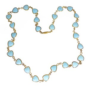 Vintage Art Deco Czech Blue Glass Heart Chain Necklace
