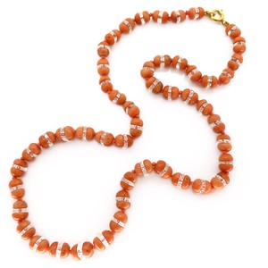 ANTIQUE ART DECO NATURAL CORAL & CRYSTAL BEAD NECKLACE