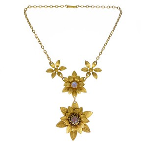Vintage Mid Century Saphiret Glass Floral Gold Tone Necklace