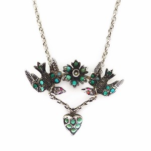 Antique Edwardian Silver Turquoise Sentimental Swallow & Heart Pendant Necklace