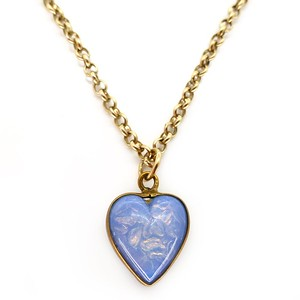 VINTAGE ART DECO OPALINE GLASS DOUBLE SIDED HEART PENDANT NECKLACE