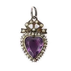 Antique Victorian Silver Bow & Heart Motif Charm Pendant
