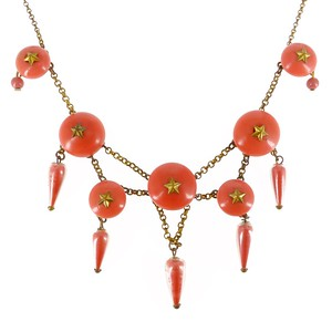 Vintage 1940s French Galalith Coral Star Victorian Revival Chain Necklace