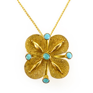 Antique 9ct Gold Turquoise Cabochon Floral Pendant Necklace Sold Out
